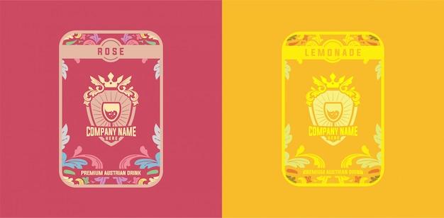 Шаблон этикетки напиток роза лимонад винтаж красочный