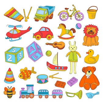 Детские игрушки или детские игрушки вектор плоские иконки коллекции