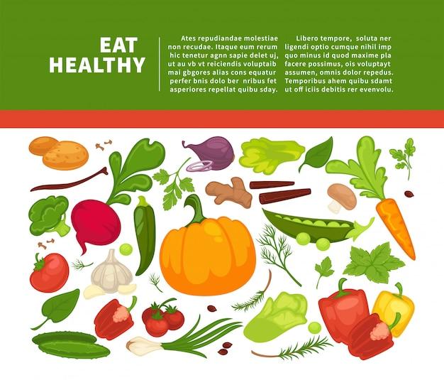 食事療法の菜食主義者の食べることまたは菜食主義者の食事療法のための有機野菜食品ポスター背景テンプレート。