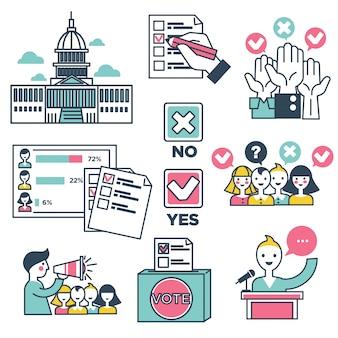 投票と投票選挙の人々のベクトルのアイコン