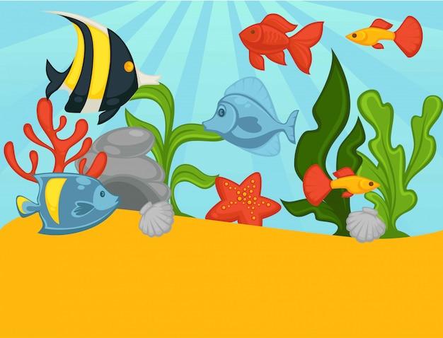 熱帯魚や植物の水族館ベクトルイラスト