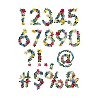 番号、あなたのデザインのベクトルカラフルな花フォント