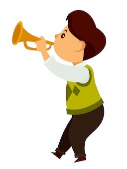 才能のある小さな子供が小さな金色のトランペットで遊ぶ