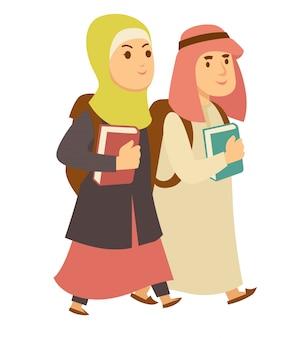 サウジアラビアのイスラム教徒の男の子と女の子の子供たちが学校へ行くベクトル漫画のキャラクター
