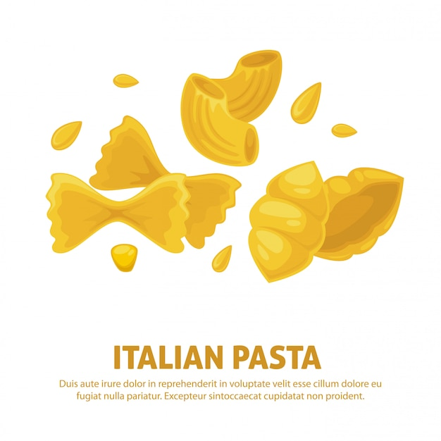 Итальянская паста кухня вектор плакат