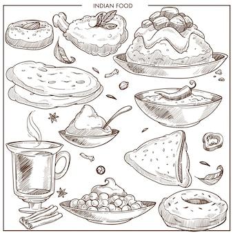 インドのスパイシーなエキゾチックな食べ物のモノクロイラストセット