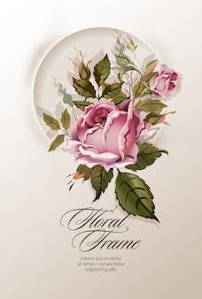 ビンテージ花と花の花輪。