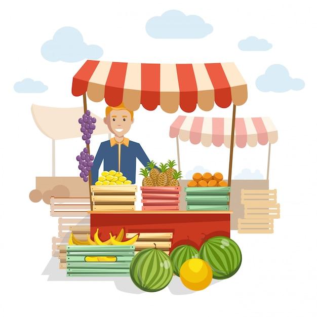 おいしいフルーツとベリーの市場での木製カウンター