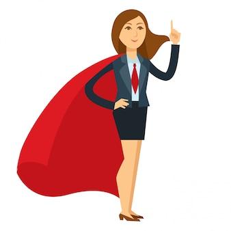 大きな赤いマントで英雄的なポーズのスーパーウーマン