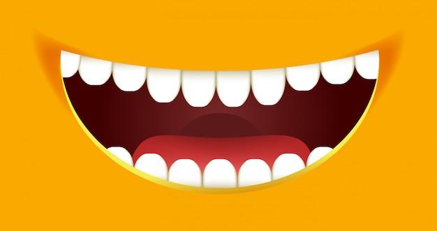 歯でいっぱいの口を開けて