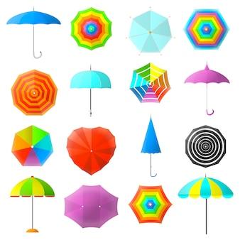 Набор плоских красочных зонтиков.