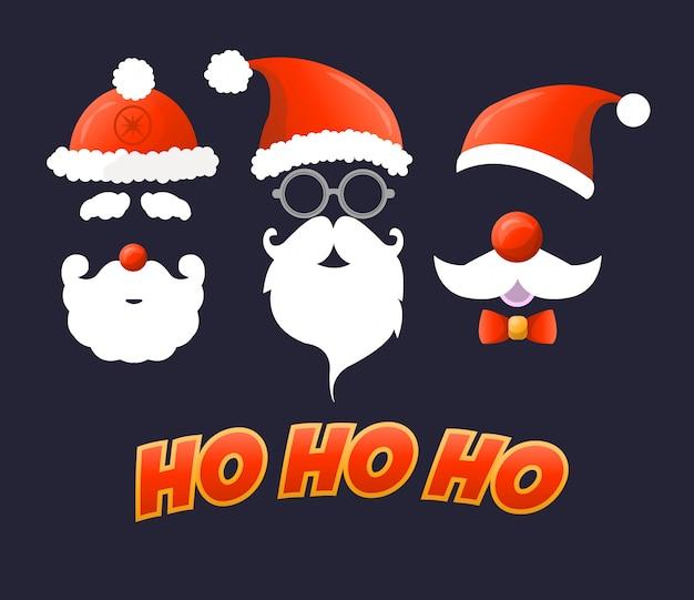 サンタの帽子、口ひげ、あごひげ。