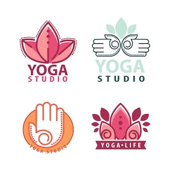 Йога монограммы и логотип набор.
