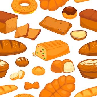 パン屋さんのパンとパンのシームレスパターン