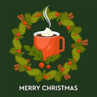 メリークリスマス、マグカップグリーティングカードでシナモンと温かい飲み物