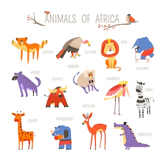 Смешные африканские животные векторный мультфильм дизайн