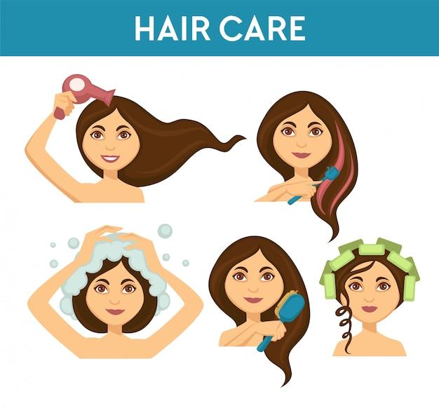Уход за волосами, женщина моет и использует сушилку