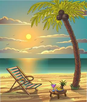 夏のビーチリラックスレジャーデザイン