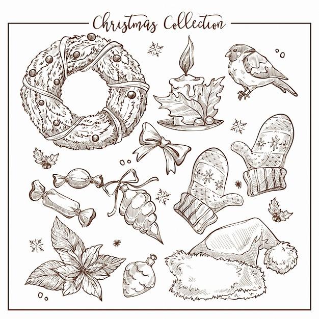 象徴的な伝統的な要素のモノクロのスケッチのアウトラインのクリスマスコレクション。