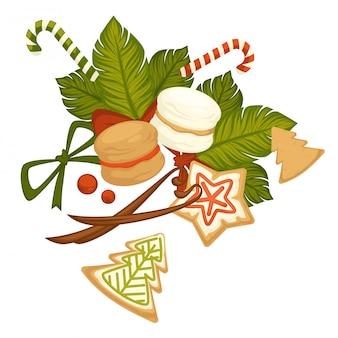 Счастливого рождества, зимние праздничные печенья и сладости.