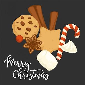メリークリスマスの伝統的なクッキーとシナモンとビスケット