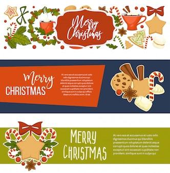 Счастливого рождества счастливые зимние праздничные баннеры с текстом