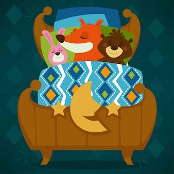 ベッドで眠っている動物は、おとぎ話のペットが眠っています。