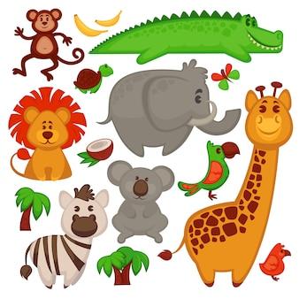 さまざまなかわいいアフリカの動物のベクトルを設定