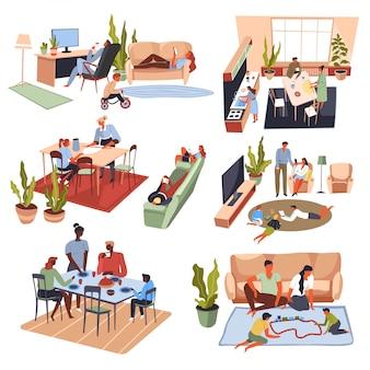 Сбор членов семьи, люди играют и едят дома