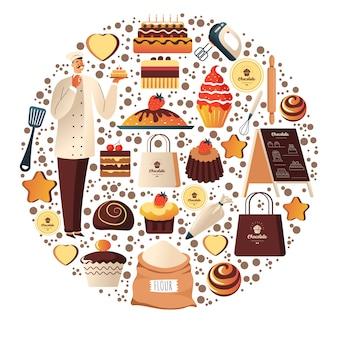 Французская пекарня или кафе, магазин десертов и шоколада