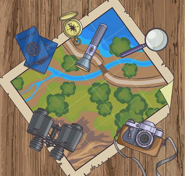 地図と旅行の計画