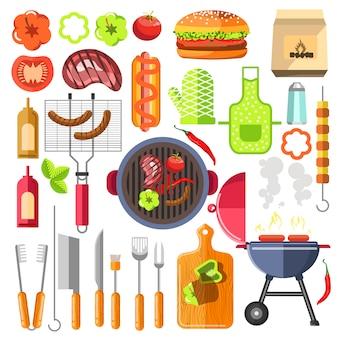 バーベキューのデザイン要素は夏の食べ物をグリルします。