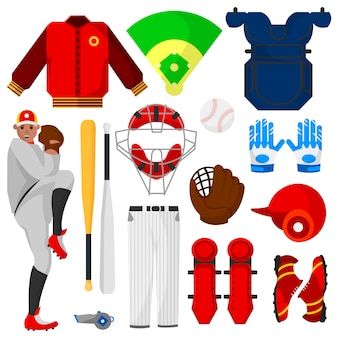 Бейсболист и спортивное снаряжение