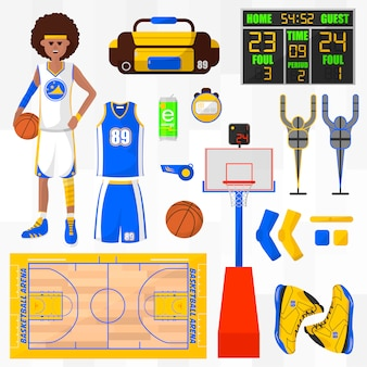 Набор векторных элементов баскетбола.