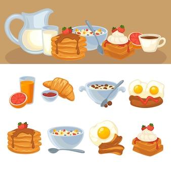 ベクトルの朝食用食品セット