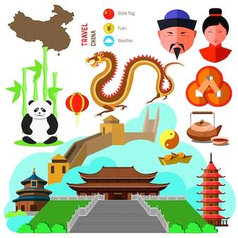 中国文化のシンボルのセットです。