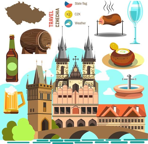 チェコ共和国プラハのシンボルセット。