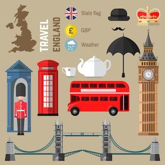 ロンドン/イギリスのシンボルのセットです。