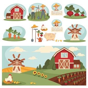 農場の建物と村の風景。