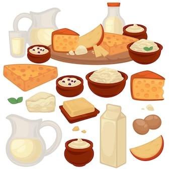 健康的な乳製品のセット:牛乳、カッテージチーズ、バター、ヨーグルト、サワークリーム、卵。