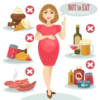 妊娠中の女性のための不健康な食べ物。