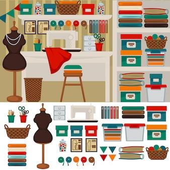 仕立て屋職場の仕立て屋のインテリアと家具