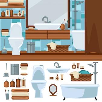 バスルームのインテリアデザイン。アクセサリーや家具セット。