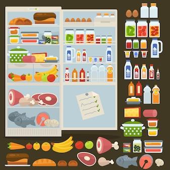 Холодильник и набор продуктов питания.