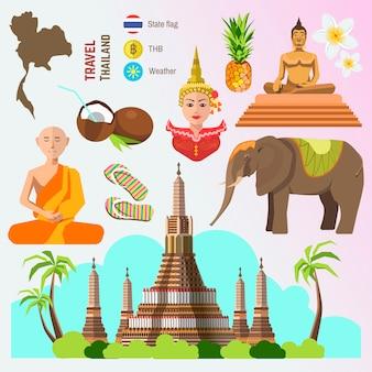 タイ旅行のシンボルのセットです。