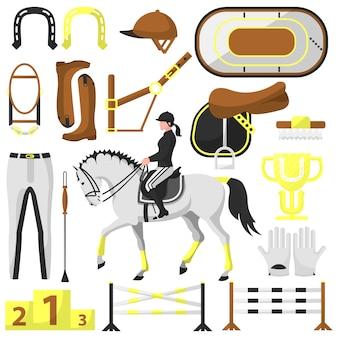 Вектор снаряжение для верховой езды, конный спорт