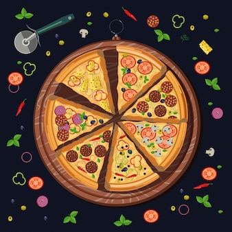 ボード上のピザのスライスと食材のセット
