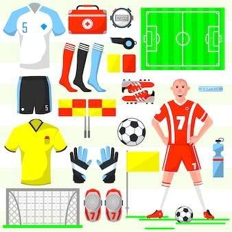 サッカーサッカーのアイコンのセットです。