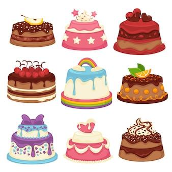 白で隔離される飾られた甘い祭りケーキコレクション。
