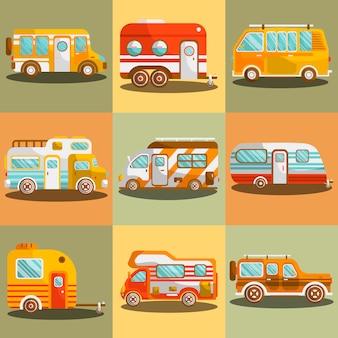 キャンプバスまたはキャンピングカーバンのベクトル図